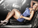 Beautiful woman in car