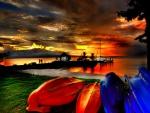 sunset on far shore
