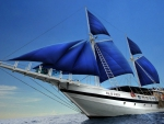 Sailboat with Blue Sails