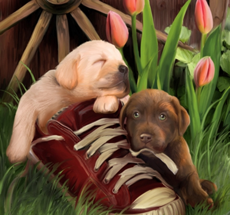 best freinds - art, freinds, tulips, dogs, animal