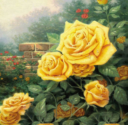 Beautiful yellow roses in the garden - art, time, galore, yellow, spring, roses, summer, flowers, garden, season, canvas, scenery