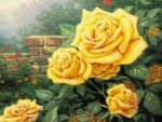 Beautiful yellow roses in the garden