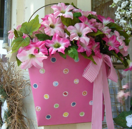 At the entrance of a flower shop - lilies, flower shop, spring, entrance, blossoms, flowers, arrangement, flower pot, pink