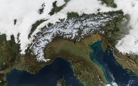 View from space of the Alps - earth, alps, space, NASA