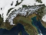 View from space of the Alps