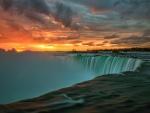 sunset over niagra falls