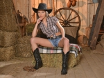 Cowgirl In The Barn