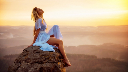 Enjoying the Sunset - sensual, legs, girl, rock, beautiful, sunset