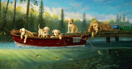 Fishing Lessons - tree, puppys, adorable, Fishing, lake, dogs, Lessons, sweet