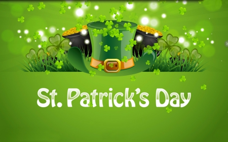 Saint Patrick's Day - Saint Patricks Day, dots, grass, coins, hat, top hat, clovers, pots, gold, green, shamrocks, Patricks Day