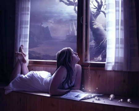 Lovely Night - book, fantasy, window, woman