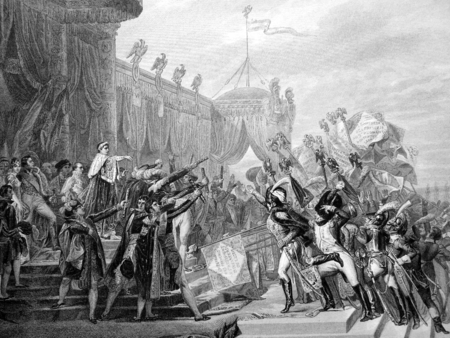 Napoleon gave the eagles, december 1804 - napoleon, amazing, engraving, black and white, beautiful, picture, cool, battle, france, battles, drawing, awesome, history, other