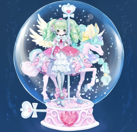 Snowball - art, wings, unicorn, colors, beautiful, soft, pegasus, snowball, girl, green, purple, snow, anime, aqua, white, pink