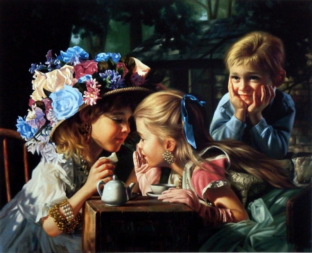 two young lady - freinds, spring, play, hat, boy, young, two, flower, lady