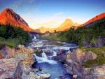 Swiftcurrent Falls At Sunrise