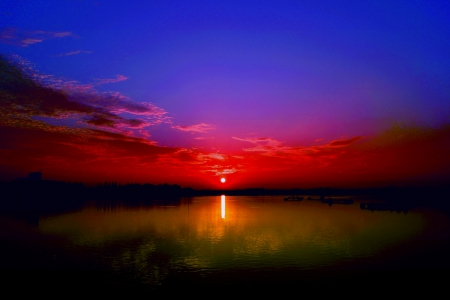 THE DAY ENDS.... - sunset, nature, sky, lake