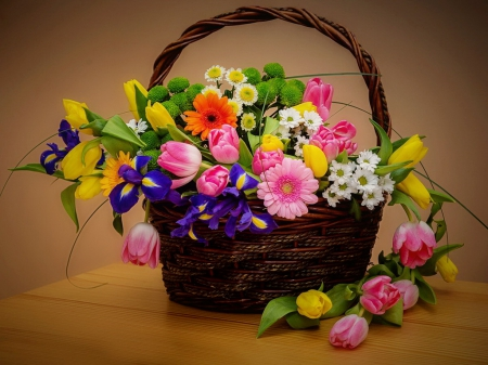 Basket with spring flowers - pretty, colorful, lovely, beautiful, still life, bouquet, basket, flowers, tulips, harmony