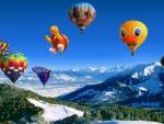 Hot Air Balloons over Mountains