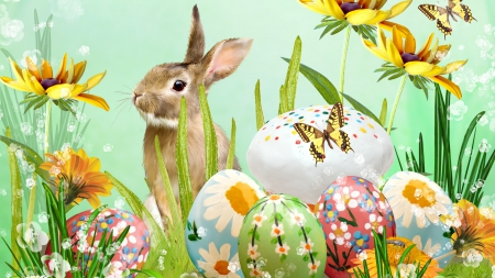 Easter Bunny In The Garden