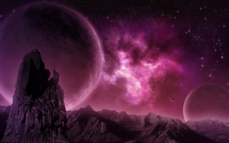 Planets and nebula - pink, nebula, rock, fantasy, planet, purple, space