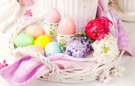 Spring Into Easter - Hyacinths, ribbon, Holiday, towel, Easter, basket, eggs, flowers, Spring