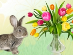 Spring Tulips and Bunny