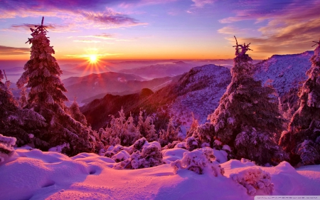 sunset - mountain, color, sunset, beautiful