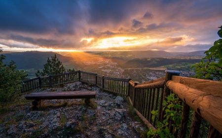 View from a Bench - benches, landscapes, cityscapes, dusk, nature, sky, valleys