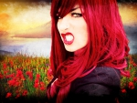 Angry red hair girl