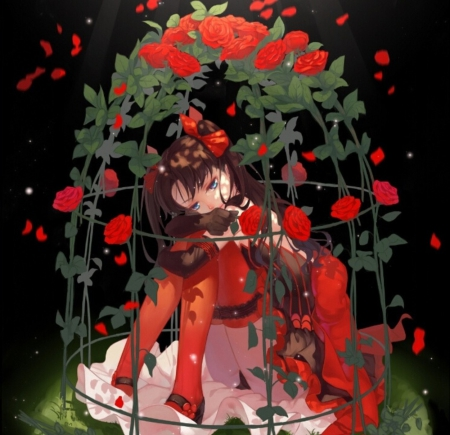 Birdcage of Roses - red, pretty, beautiful, woman, green, anime, flowers, beauty, anime girl, long hair, art, female, lovely, brown hair, black, roses, cute, girl, birdcage, lady