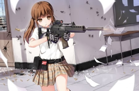 Girl With Gun - Cute, Anime, Anime Girl, Girl with gun