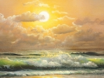 Beautiful Painting of Beach Sunset