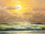 Beautiful Painting of Beach Sunset