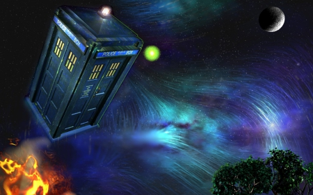 Doctor Who.. - fantasy arts, stars, fantasy, moon, flying, box, police, night