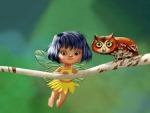 Cute fairy with owl