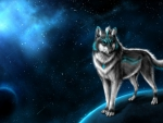 Guardian wolf in moon