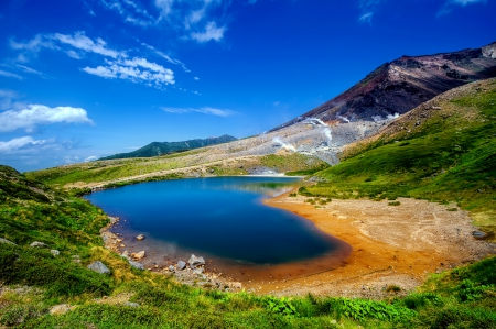 Blue lake - mountain, grass, beautiful, like, sky, blue, landscape