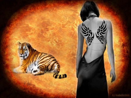 Hers Escape - artistic, Tiger, fire, tattoo, hers, beauty, woman, Escape