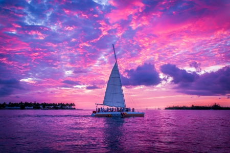 Pink Sunset - boat, people, sailing, sunset, sky, pink, vire, sea