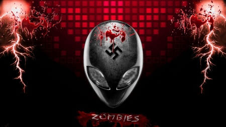 alien zombie - nazi, red abstract, swastika, eyes, aliens