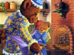 Grandma Bear Baking Cakes