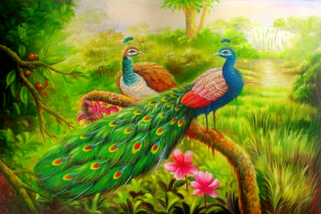 Paradise - pretty, art, lovely, peacock, beautiful, eden, paradise, friendship, painting, summer