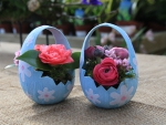 Floral arrangement at Easter plant pot