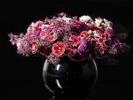 Beautiful Flowers in Black Vase