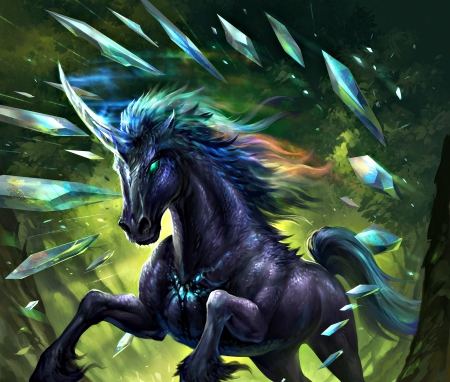 Prismatic unicorn - art, black, horse, villain, sandara, fantasy, green, prismatic unicorn, blue