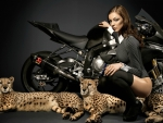 Model Posing with Leopards and Motorcycle