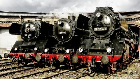 Three Steam Trains - Clouds, Three, Rails, Steam Engines