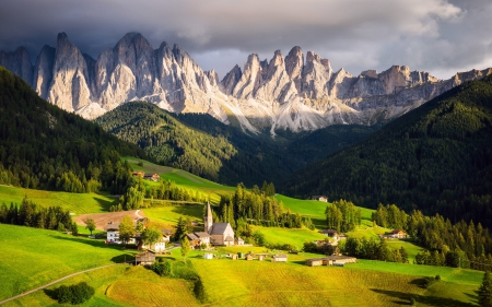 Small Village in the Italian Alps - hills, villages, houses, trees, alps, italian alps, mountains, churches, cityscapes, nature, valleys, italy