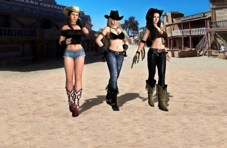 Three Amigos - boots, women, guns, brunettes, 3D, anime, pistols, girls, blondes, hats, female, models, fun, cowgirls, fashion, western, style