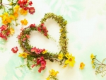 Lovely Flowers and Heart Wreath